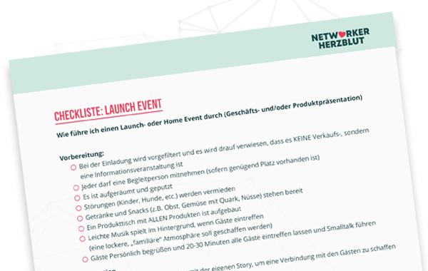 Checkliste Launch - Alles nach Plan für Events in Network Marketing